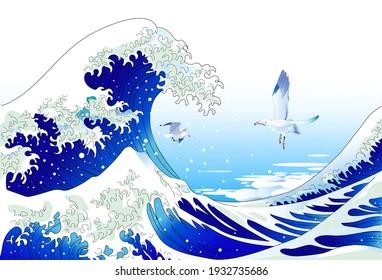 Scenery of Ukiyoe, Great wave and Seagull
