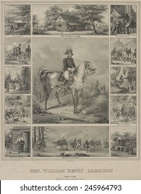 Scenes from the life of 1840 Whig Presidential candidate William Henry Harrison. The print was published during Harrison's successful 1840 campaign for the Presidency.