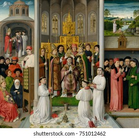 SCENES FROM LIFE OF ST. AUGUSTINE OF HIPPO, 1490, Netherlandish, Northern Renaissance oil painting. Saint Augustine, a 5th century Christian theologian, is depicted in five separate scenes. In the cen