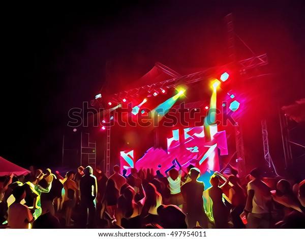 Scenic Concert Dance Party Digital Illustration Stock Illustration
