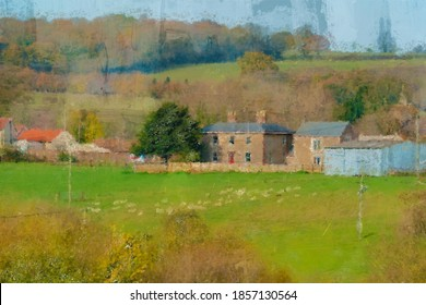 A scenic view of an English farm from a hilltop taken as a photograph and digitally edited as an oil painting