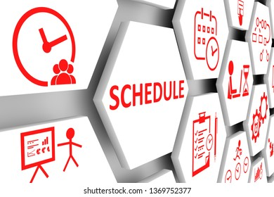 SCHEDULE concept cell background 3d illustration