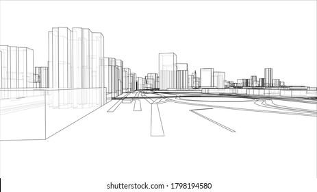Eine schematische Zeichnung oder Skizze einer 3D-Stadt mit Gebäuden und Straßen. Rahmenstil. 3D-Abbildung. Konzept der Bauindustrie