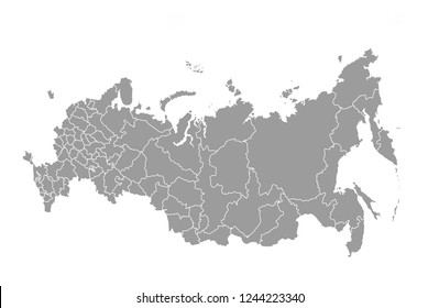 Schematic map of Russia on a white background. Illustration