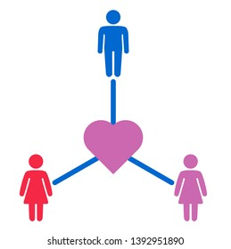 Schematic representation of polyamoric relations between three people. Polyamory conceptual illustration.