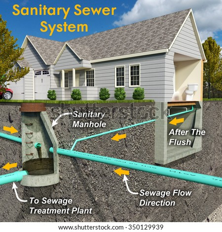 Schematic Sectionview Illustration Contemporary Sanitary Sewer Stock. A Schematic Sectionview Illustration Of Contemporary Sanitary Sewer System Depicting Residential Connection. Wiring. Mobile Home Park Sewer Connection Diagram At Scoala.co