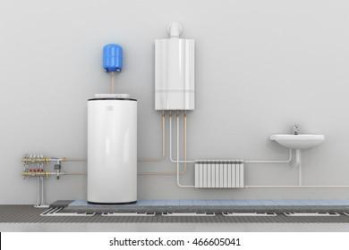 Scheme heating in homes. 3d illustration