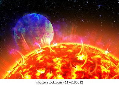Scheme of solar radiation and electromagnetic field of the Earth. Sun and Earth in the depths of space. 3d illustration