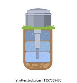 Scheme of the water well in the earth. Artesian or groundwater extracting. Isolated flat  illustration