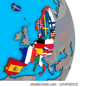 Schengen Area members with embedded national flags on simple political 3D globe. 3D illustration.