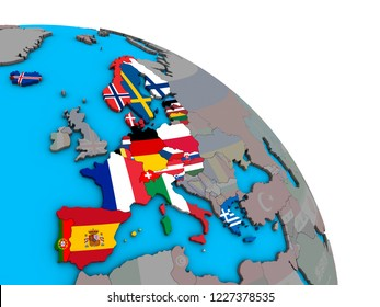 Schengen Area members with embedded national flags on simple blue political 3D globe. 3D illustration.