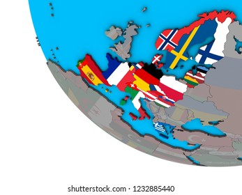 Schengen Area members with embedded national flags on simple 3D globe. 3D illustration.
