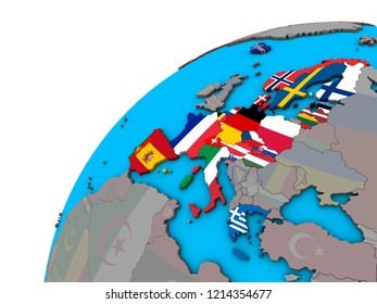 Schengen Area members with national flags on 3D globe. 3D illustration.
