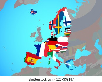 Schengen Area members with national flags on blue political globe. 3D illustration.