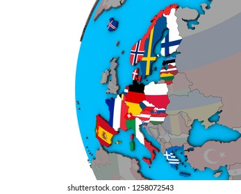 Schengen Area members with national flags on blue political 3D globe. 3D illustration.