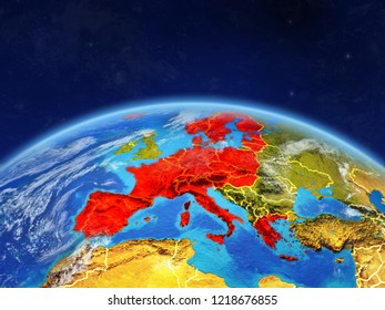 Schengen Area members on planet Earth with country borders and highly detailed planet surface and clouds. 3D illustration. Elements of this image furnished by NASA.