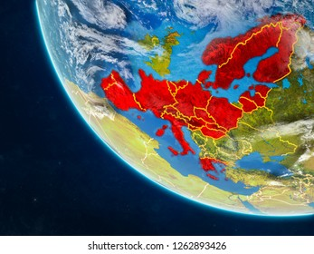 Schengen Area members on planet Earth from space with country borders. Very fine detail of planet surface and clouds. 3D illustration. Elements of this image furnished by NASA.