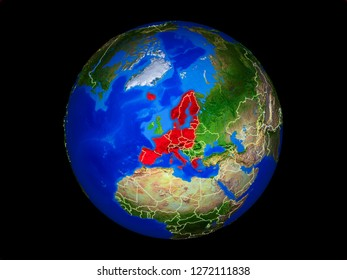 Schengen Area members on planet planet Earth with country borders. Extremely detailed planet surface. 3D illustration. Elements of this image furnished by NASA.