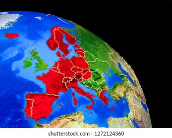 Schengen Area members on planet Earth from space with country borders. Very fine detail of planet surface. 3D illustration. Elements of this image furnished by NASA.