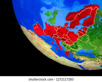 Schengen Area members on realistic model of planet Earth with country borders and very detailed planet surface. 3D illustration. Elements of this image furnished by NASA.