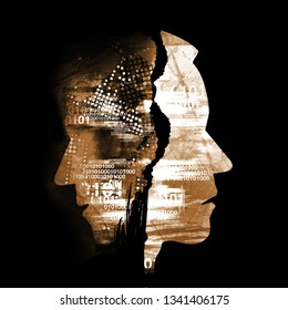 Schizophrenia, depression, human tragedy, male heads.  Male heads stylized silhouettes shown in profile. Concept symbolizing schizophrenia, depression, human tragedy.Illustration on black background.