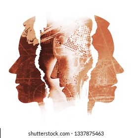 Schizophrenia, depression, male heads.  Male heads, stylized silhouettes shown in profile. Concept symbolizing schizophrenia, depression, human tragedy.Illustration on white background.