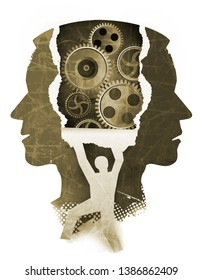 Schizophrenia psychiatric examination concept. Stylized Male head silhouettes and male silhouette ripping paper background with gear.