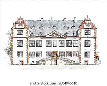 Schloss Salder,  a stately home in the Renaissance style in Salder, a village in the borough of Salzgitter in Lower Saxony, Germany, color pencil style sketch illustration.