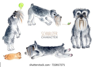 Schnauzer, watercolor dog character.