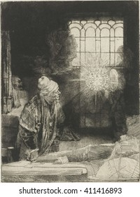 A Scholar in his Study, by Rembrandt van Rijn, 1650-54, Dutch print, etching on an apparition of a disc of light enclosing a series the letters 'INRI'