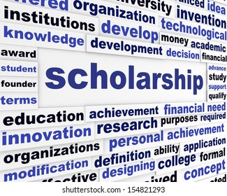 Scholarship conceptual message design. Students financial help creative poster