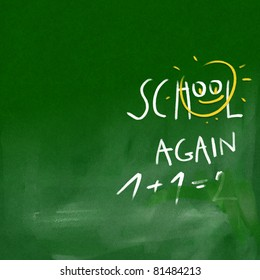 school again - green chalkboard background (white chalk doodles & writing)