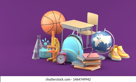 School bags, books, microscopes, science test tubes, globes, basketballs, sneakers and study tables on a purple background.-3d rendering.