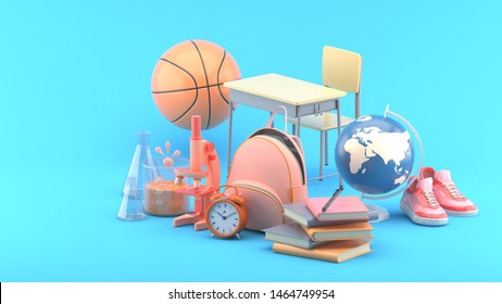 School bags, books, microscopes, science test tubes, globes, basketballs, sneakers and study tables on a blue background.-3d rendering.