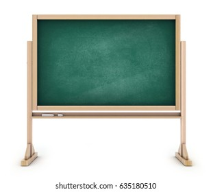 School blackboard, empty chalkboard green. 3d illustration