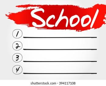 School blank list, education concept