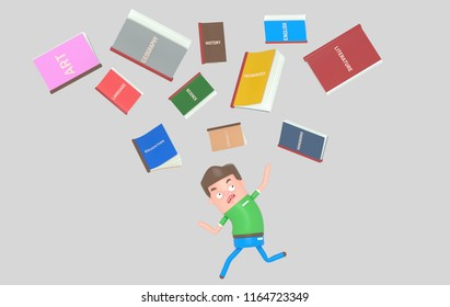 School books falling down on scared student. 3d illustration