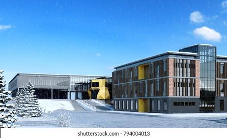 School building - 3d