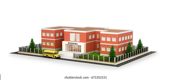 School building, bus and front yard. Flat style vector illustration isolated on white background. 3d illustration