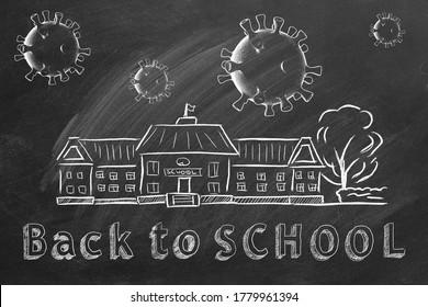 Schulgebäude, Coronavirus-Zellen und Schrift Zurück zur Schule sind mit Kreide auf einer Tafel gezeichnet. Covid-19 Konzept. Beginn des neuen Schuljahres 2020