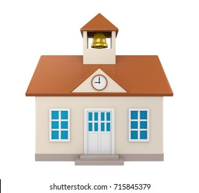 School Building Icon Isolated. 3D rendering