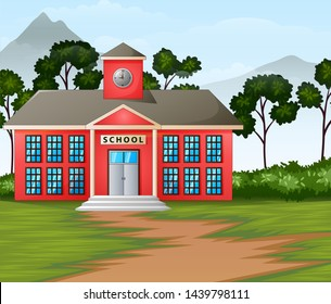 School building in nature background illustration