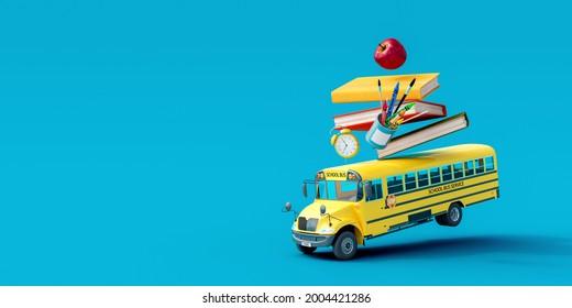 Autobús escolar con accesorios escolares y libros de fondo azul 3D Rendering, Ilustración 3D