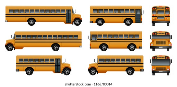 School bus back kids icons set. Realistic illustration of 9 school bus back kids icons for web