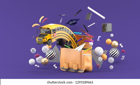 The school bus floats out of the school bag along with the school supplies on the purple background.-3d rendering.