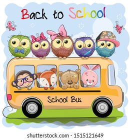 School bus and four cute cartoon animals and five owls
