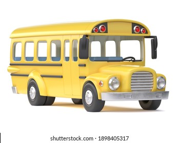 School bus on white background 3d rendering