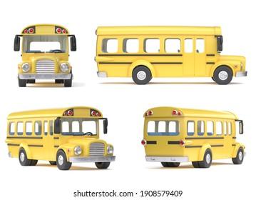 Schulbus von verschiedenen Ansichten auf weißem Hintergrund 3D-Darstellung