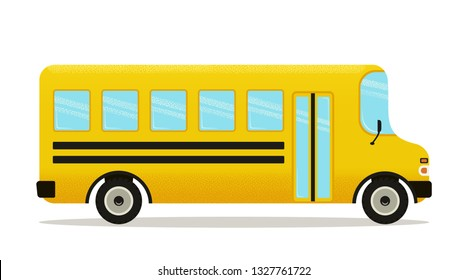 School bus. Yellow schoolbus icon isolated on white background, side view. Back to school poster.