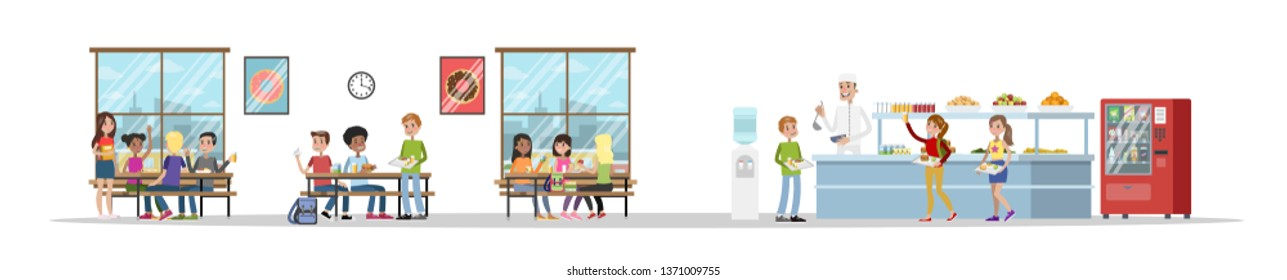 School cafeteria interior. Children have lunch in the dining room. School canteen. Isolated  flat illustration